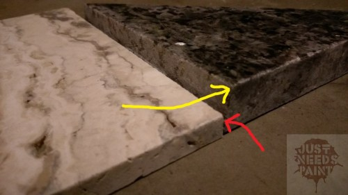 The difference in depth between the travertine and prefabricated granite backsplash is significantly different. Instead of figuring out a transition I would rather come up with a different design, repeating the mosaic found throughout the rest of the bathroom.