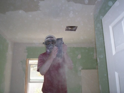 "New bathroom walls and ceiling with an emphasis on how much ""fun"" it is to sand down joint compound on a ceiling."