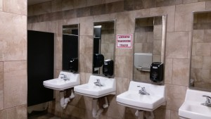 There is no line or wait time here with four glorious options for washing your hands in the Home Depot bathroom!