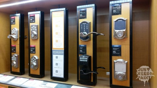 Home Depot display of automatic keyless deadbolts. I'll take one of each!