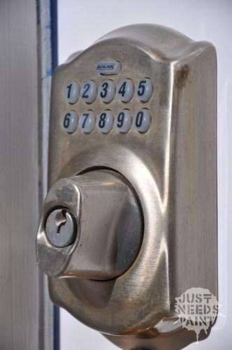 Manual moved tumbler example: Schlage Keypad Deadbolt