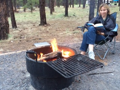 08-10-2015_Camp Site _reading a library book
