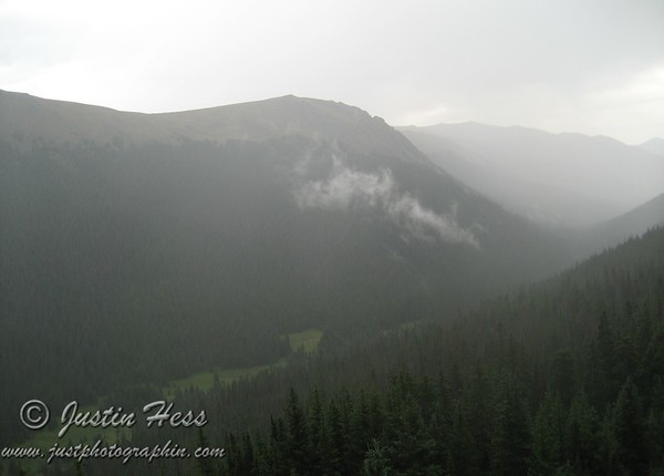 Looking down into Forest Canyon as the rain started falling.
