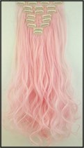 PINK CURLY HAIR CLIP INS