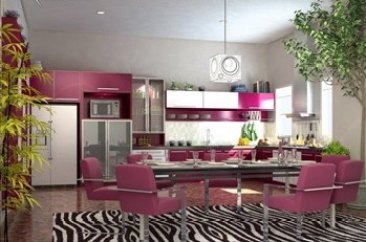 Cute-Design-Ideas-Of-Perfect-Pink-And-Silver-Kitchen-Colors-Using-Rectangle-White-Motif-Hanging-Pendants-700x461