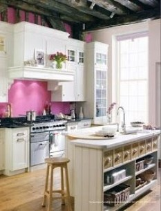 kitchen with pink accents