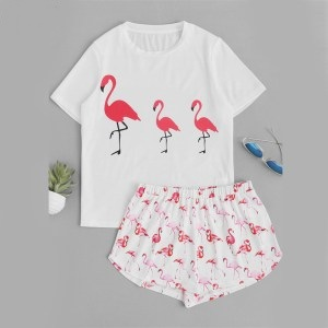 Pink Flamingo Print Top Shorts Pajama Set