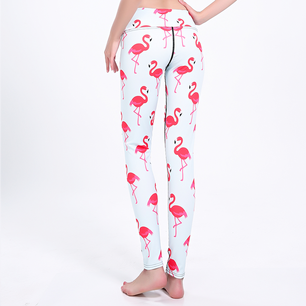 Womens Pink Flamingo Print Leggings - Just Pink About It-8744