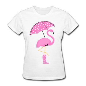 Women's Pink Flamingo Wearing Boots Umbrella T Shirt
