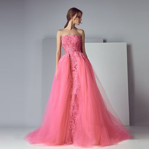 Haute Couture Off Shoulder Pink Prom Gown