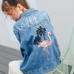 Women's Pink Flamingo Embroidered Jean Jacket
