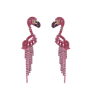 Rhinestones Pink Flamingo Women's Earrings