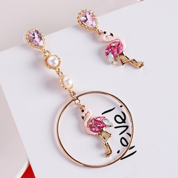 Women's Cute Pink Flamingo Asymmetrical Earrings