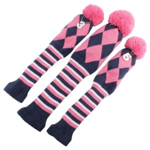 Knit 3pcs Vintage Pom Pom Golf Club Sock Covers