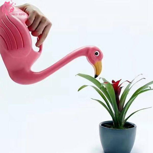Pink Flamingo Garden Figure Watering Can
