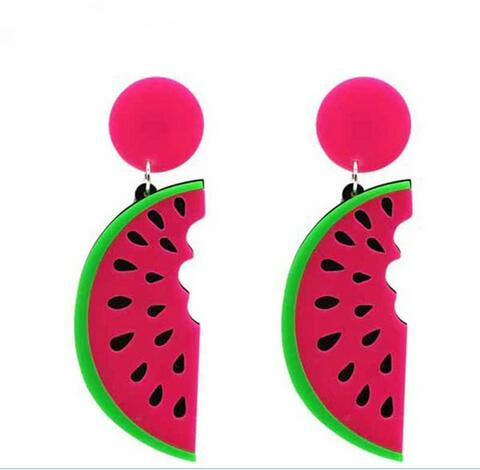 Women's Pink Watermelon Slice Drop Earrings