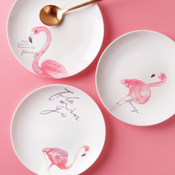 Pink Flamingo Porcelain Ceramic Dinner Plates