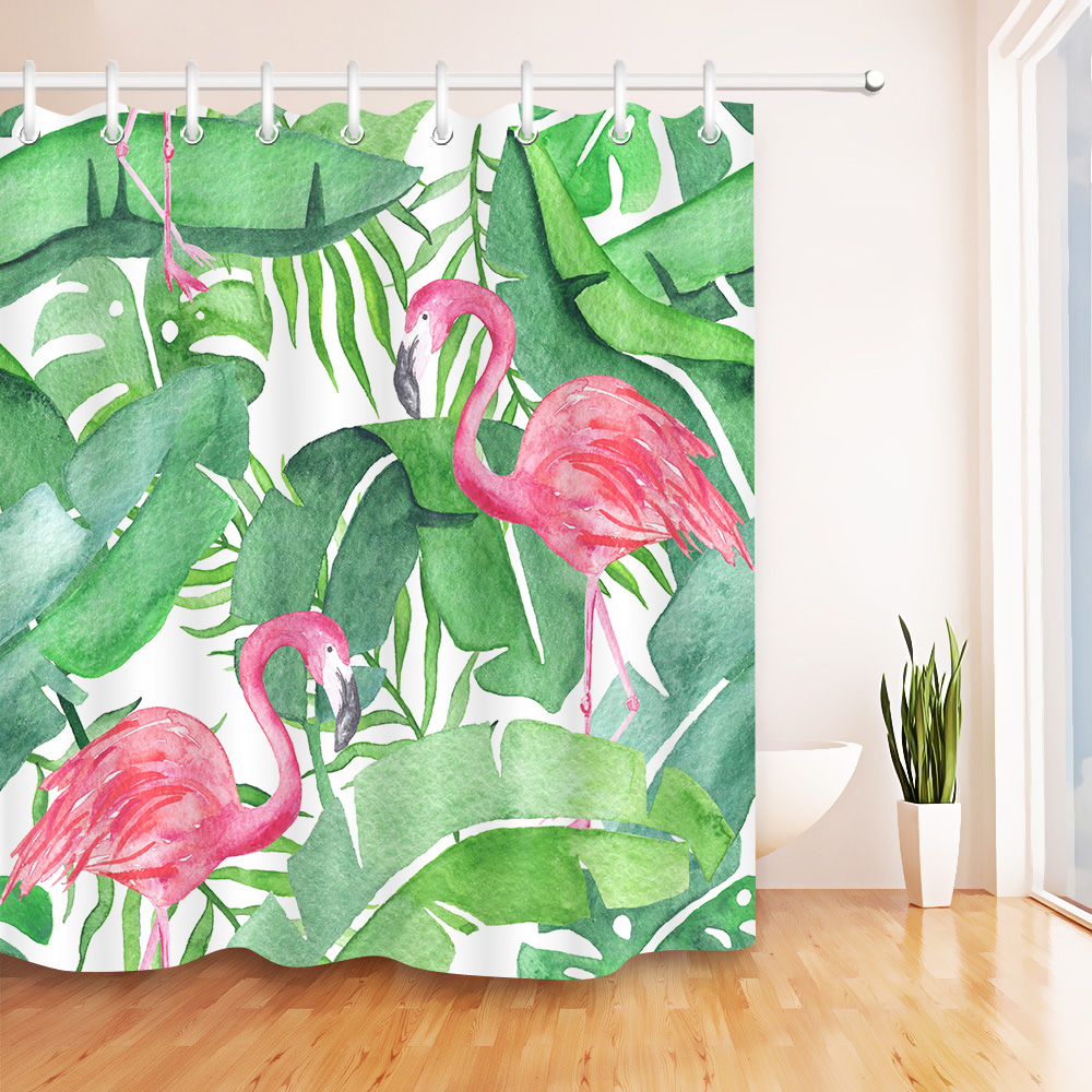 Tropical Pink Flamingo Fabric Shower Curtain - Just Pink About It
