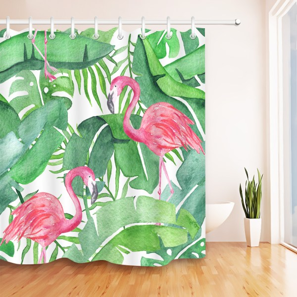 Tropical Pink Flamingo Fabric Shower Curtain