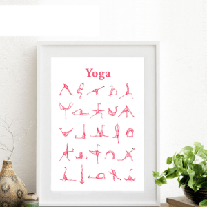 Pink Flamingo Yoga Position Canvas Painting Art Print