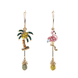 Cute Asymmetrical Flamingo Pattern Rhinestone Earrings