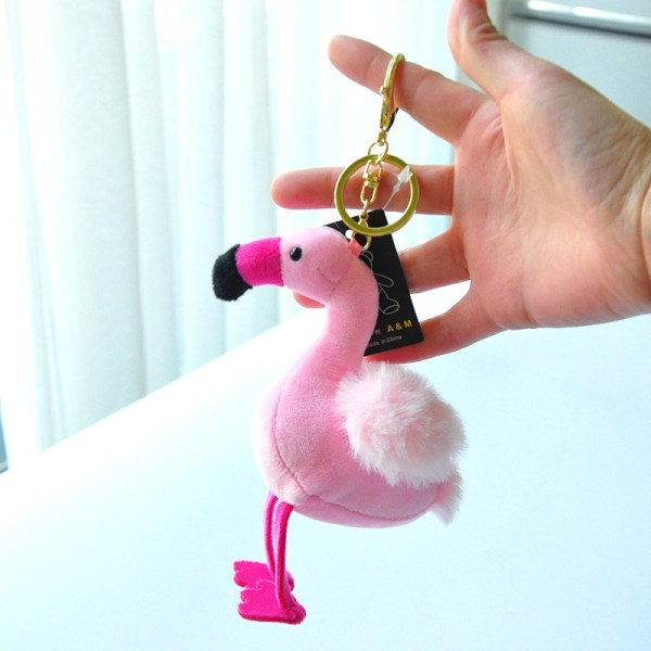 Cute Pink Flamingo Plush Key Chain