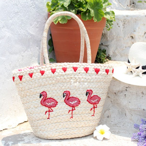Womens' Pink Flamingo Straw Summer Handbag