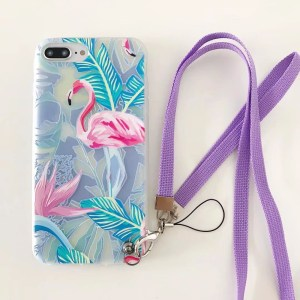 Lovely Pink Flamingo Design Strap iPhone Case