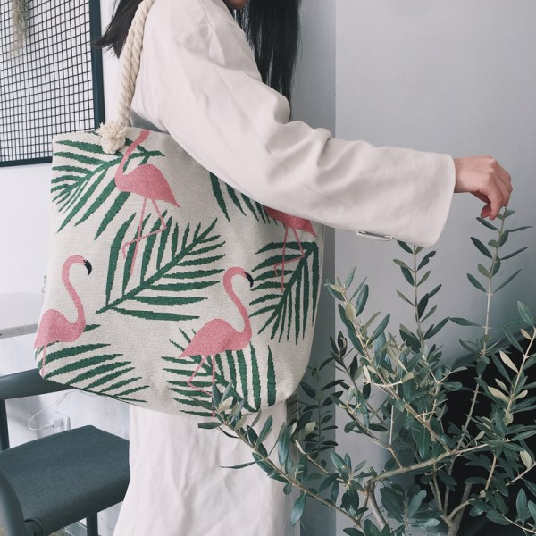 Women's Tropical Flamingo Print Canvas Tote
