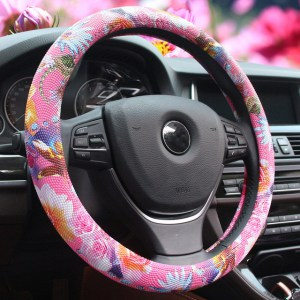 Pink Floral Car Steering Wheel Cover