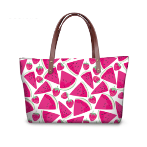 Women's Large Pink Watermelon Print Tote Bag
