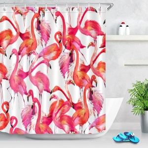 Colorful Tropical Flamingo Shower Curtain