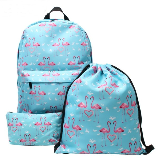 Flamingo Print Fashion Backpack 3-Piece Set
