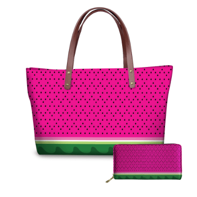 Women's Pink Watermelon Pattern Tote Wallet Set