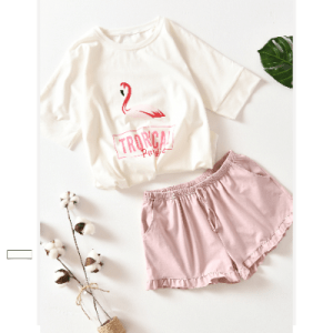 Women's Flamingo Design Cotton Pajama Set