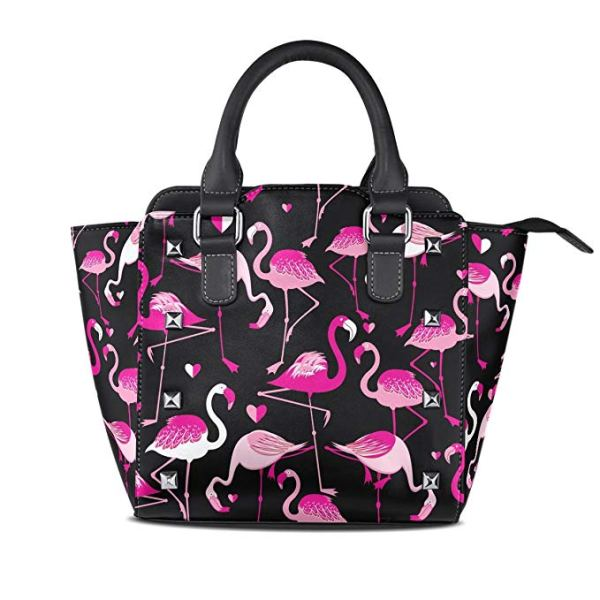Pink Flamingo PU Leather Tote Bag