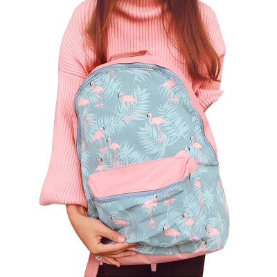 Pink Flamingo Print Waterproof Backpack