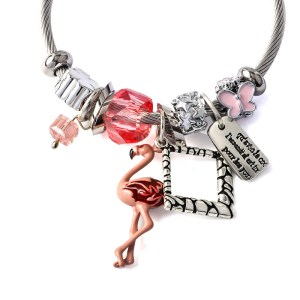 Women's Flamingo Design Charm Bracelet