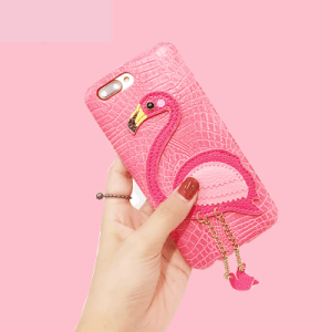 Pink Flamingo Leather 3D iPhone Case