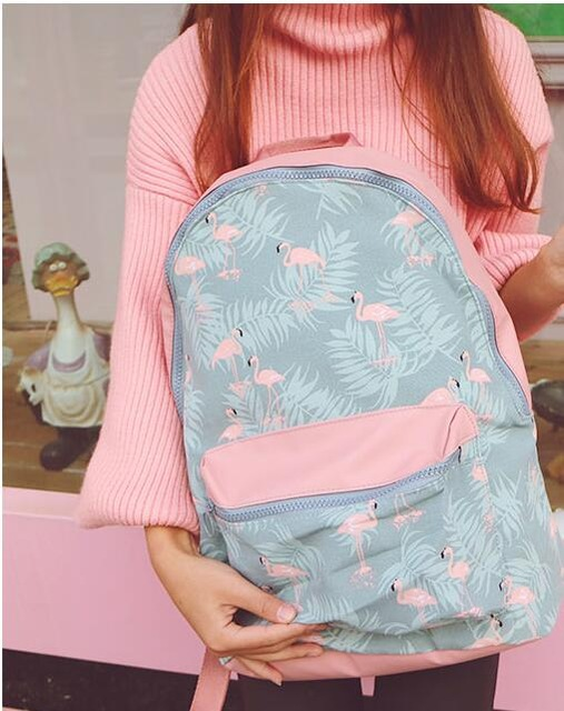 9411a48d2a7c Pink Flamingo Print Waterproof Backpack - Just Pink About It
