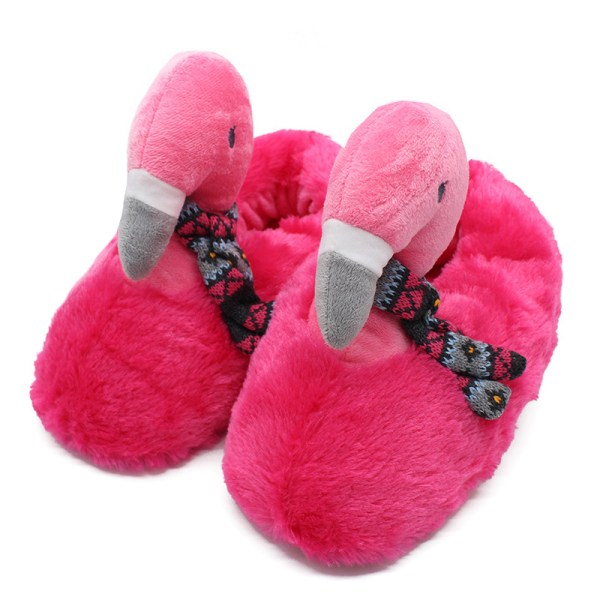 Cute Pink Flamingo Scarf Plush Slippers