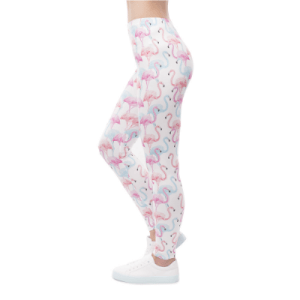 Women's Pink Flamingo Print Workout Leggings