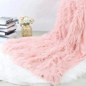 Pink Soft Fluffy Mongolian Faux Fur Throw Blanket
