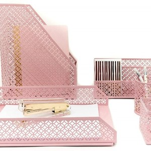 Pink 5 Piece Desk Organizer Accessories Set