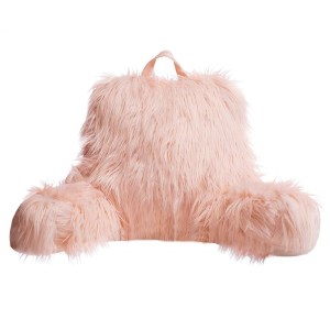 Pink Reading Arm Rest Faux Fur Pillow