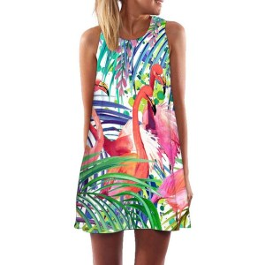 Women's Tropical Flamingo Print Shift Dress