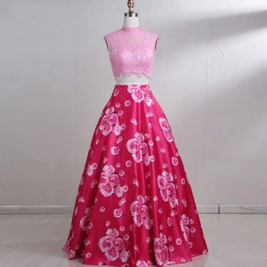 Long Pink Floral 2 Pieces Evening Prom Dress