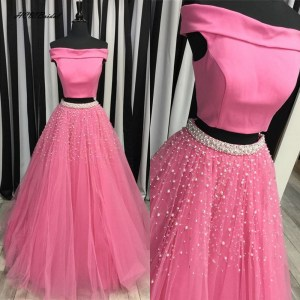 Hot Pink 2 Piece Homecoming Prom Dress