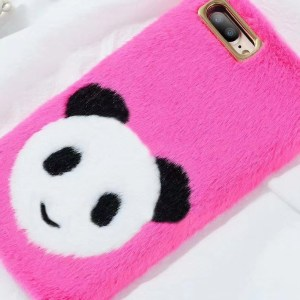Cute Plush Pink Panda iPhone Case