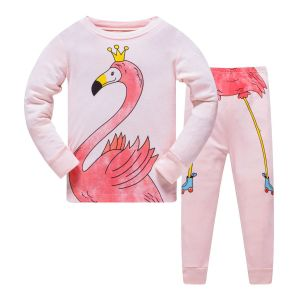 Kids Pink Flamingo Design Pajamas Set